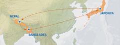 Japonya'dan Nepal'e, oradan Bangladeş'e gidişi, sonra Japonya'ya geri dönüşü gösteren bir harita