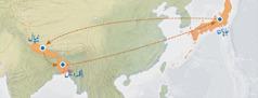 نقشے میں جاپان سے نیپال، نیپال سے بنگلہدیش اور پھر بنگلہدیش سے نیپال کا راستہ