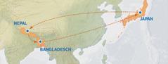 Eine Karte zeigt die Route von Japan nach Nepal sowie nach Bangladesch und wieder zurück nach Japan
