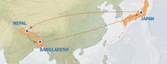 En karta som visar resrutten från Japan till Nepal och Bangladesh och sedan tillbaka till Japan.
