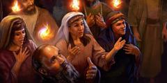 Помазани хришћани с пламеним језицима изнад главе на Педесетницу 33. н. е.
