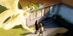 An angel flies above two of Jehovah's Witnesses as they approach a house where a man is praying