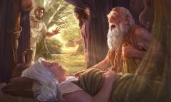 İbrahim peyğəmbər Saranın cəsədi yanında oturub hönkür-hönkür ağlayır