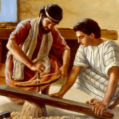 Joseph teaches Jesus to be a carpenter