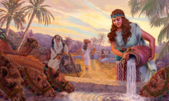 Rebekah waters the camels of Abraham's servant