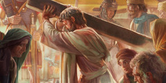 Jesus carries his torture stake