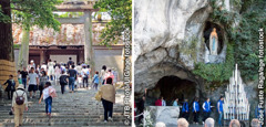 Visitors at the Grand Shrine of Ise in Japan and at the Grotto of Massabielle in Lourdes, France