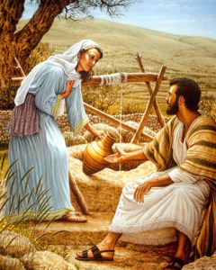 Hesus ta papia cu un señora Samaritano na un pos
