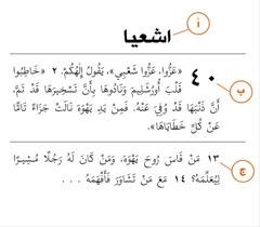 مقطع من الكتاب المقدس يظهر كيف نحدد (أ)السفر، (ب)الاصحاح و(ج)العدد