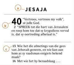 'n Bybelgedeelte toon hoe ons a) die Bybelboek, b) die hoofstuk en c) die vers kan identifiseer