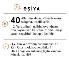 Müqəddəs Kitabın bir parçası seçilib ki, a)kitabın adını, b)fəsli, c)ayəni tapmağın yolunu göstərsin