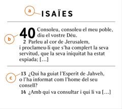 Un passatge bíblic en què es mostra com identificar (a) el llibre de la Bíblia, (b)el capítol i(c) el versicle