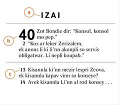 Enn pasaz Labib pou montre nou kouma idantifie a) liv Labib-la, b) so sapit, ek c) so verse
