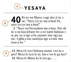 Baiblo mi womi ko nɛ a kɛ tsɔɔ bɔ nɛ omaa pee ha kɛ na a) Baiblo mi womi, b) yi, kɛ d) kuku