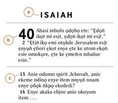 Ndise n̄wed Isaiah emi owụtde a) n̄wed Bible, b) ibuot, ye c) ufan̄ikọ