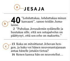 Yksittäinen raamatunkohta, joka osoittaa, miten ilmaistaan a) Raamatun kirja, b) luku ja c) jae