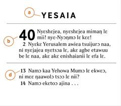 Biblia mli sane ko ni akɛtsɔɔ bɔ ni obaafee ona a) Biblia lɛ mli wolo lɛ, b) yitso lɛ, kɛ d) kuku lɛ