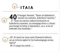 Kibu te Baibara ae katanetaenaki ni kaota a) Bokin te Baibara, b) mwakorona, ao c) kibuna