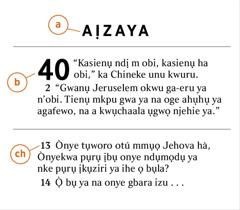Ebe egosiri otú enwere ike isi chọta a) akwụkwọ Baịbụl, b) isi ya, na ch) amaokwu ya