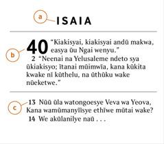 Kĩlungu kya Mbivilia kyonanĩtye, a) ĩvuku ya Mbivilia, b) kĩlungu, na c) mũsoa