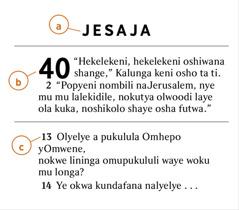 Oitukulwa yOmbiibeli ya mbapekwa opo omunhu a dule okumona a) embo lOmbiibeli, b) etukulwa, nosho yo c) ovelishe