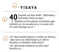 Makambo oyo ezali awa emonisi ndenge ya koyeba a) mokanda ya Biblia, b) mokapo, mpe c) vɛrsɛ