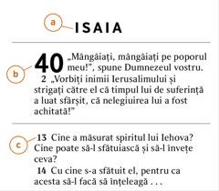 Pasaj biblic care indică: a)numele cărții biblice, b)numărul capitolului și c)numărul versetului