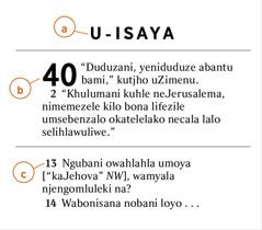 Indima yeBhayibheli etjengiswe lapha le iveza indlela yokuthola a) incwadi yeBhayibheli, b) isahluko c) nevesi
