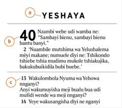 Mêyi kampada a mu Bible mela patoke bua kuleja a)mukanda wa mu Bible, b)nshapita ne c)mvese