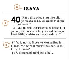 Timana ya mwa Bibele yebonisa mwa kufumanela a) buka ya Bibele, b) kauhanyo, c) timana