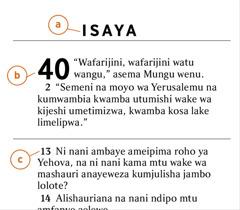 Fungu la maneno katika Biblia linalosaidia kujua a) kitabu cha Biblia, b) sura, na c) mstari