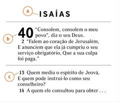 Exemplo de um trecho da Bíblia que mostra como identificar a) o livro, b) o capítulo e c) o versículo