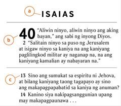 Isang teksto sa Bibliya na nagpapakita kung paano matutukoy ang a) aklat ng Bibliya, b) kabanata, at c) ang talata
