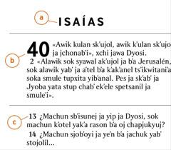 Jun teksto b'a Biblia jisub'al b'a snajel b'ay a) ja libro, b) ja kapitulo, sok c) ja bersikulo