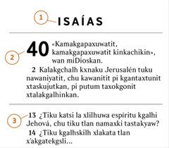 Akgtum texto xalak Biblia nema malankikanit xlakata namasiyakan la tlan tekgskan1) libro,2) capítulo chu3) versículo