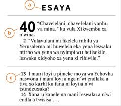 Ku funghiwe tindzimana ta Bibele ku kombisa ndlela yo kuma a) buku ya Bibele, b) ndzima ni c) ndzimana