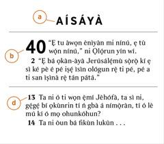 Ẹsẹ Bíbélì kan tá a tọ́ka sí ká lè ṣàfihàn a) ìwé Bíbélì, b) orí, àti d) ẹsẹ