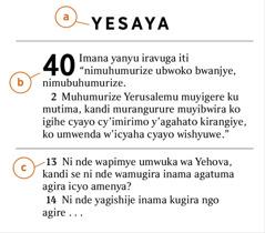 Amagambo yo muri Bibiliya yerekana uko wabona a) izina ry'igitabo, b) Igice, c) umurongo