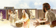 Jephthah visits his daughter, who is hard at work at the tabernacle