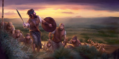 Judge Gideon leads Israelite soldiers
