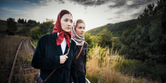 Corinna and another sister walk a long distance to attend a meeting in Siberia