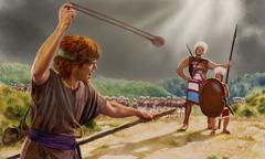 Si David na nagpapahilagpos ng bato at sumusugod kay Goliat