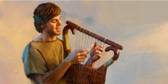 Yeniyetmə yaşlarında olan Davud peyğəmbər arfa çalır