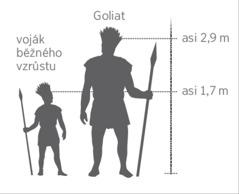 Porovnání výšky obřího Goliata s vojákem běžného vzrůstu