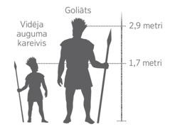 Attēls, kurā redzams, cik milzīgs bija Goliāts salīdzinājumā ar vidēja auguma kareivi