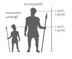 മല്ലനായ ഗൊല്യാത്തിന്റെ ഉയരവും ഒരു സാധാരണപടയാളിയുടെ ഉയരവും തമ്മിലുള്ള താരതമ്യം