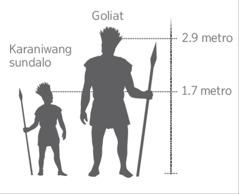 Scale model ng higanteng si Goliat kumpara sa karaniwang sundalo