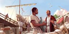 使徒パウロが男性に伝道している