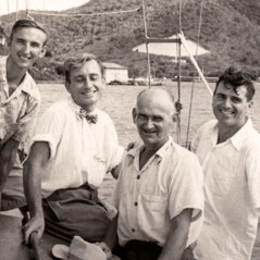 Four missionary on top the boat wey be Sibia: Ron Parkin, Dick Ryde, Gust Maki, and Stanley Carter
