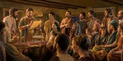 Krščanska občina v prvem stoletju posluša branje pisma.